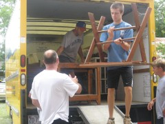 Hope Chapel volunteers unload donations from their furniture drive.